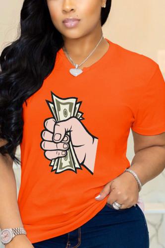 Orange Cotton O Neck Short Sleeve Print TOPS