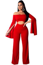 Red Polyester Elastic Fly Long Sleeve High Patchwork Skinny Pants Jumpsuits & Rompers ZS571159