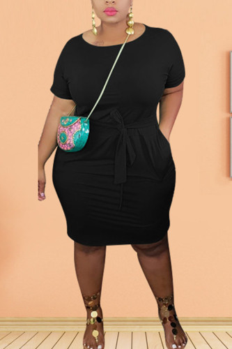 Black Polyester Fashion Sexy adult Ma'am O Neck Solid Plus Size