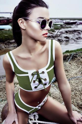 Green Polyester Beading bandage Asymmetrical backless crop top Fashion Sexy Tankinis Set CS861277