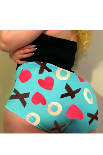 Green Polyester Elastic Fly High Print Straight shorts BOTTOMS