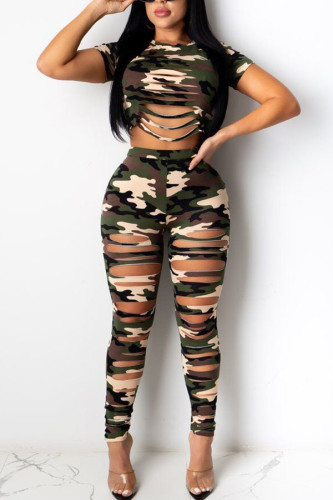 Camouflage Cotton Fashion Sexy adult Ma'am Hole Camouflage Two Piece Suits pencil Short Sleeve Two Pieces