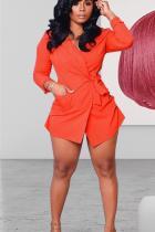 Orange Notched Bandage Solid Polyester Pure Long Sleeve Blazer & Suits &Jacket NK109018