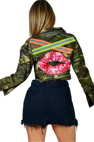 Camouflage Turndown Collar Patchwork Polyester Others Long Sleeve Outerwear