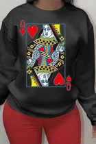 Black Polyester O Neck Long Sleeve Letter Patchwork Print Burn-out TOPS