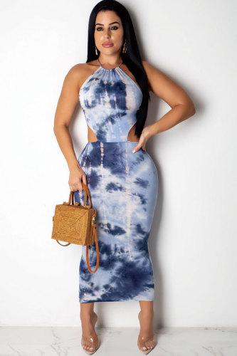 Blue Polyester Fashion Sexy Tank Sleeveless O neck Asymmetrical Ankle-Length asymmetrical Patchwork backless Print Print Dresses CY771214