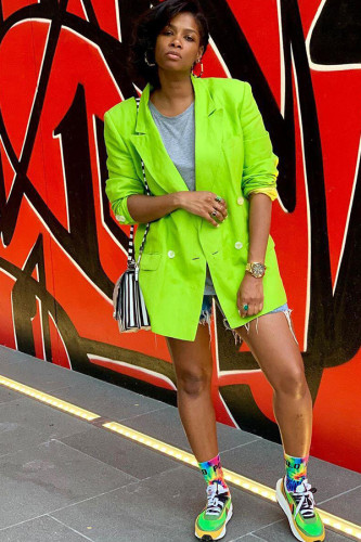 Fluorescent green Notched Patchwork Solid Polyester Pure Long Sleeve Suit jacket YS521213