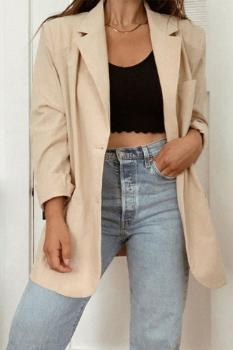 Apricot Notched Solid Polyester Pure Long Sleeve Outerwear