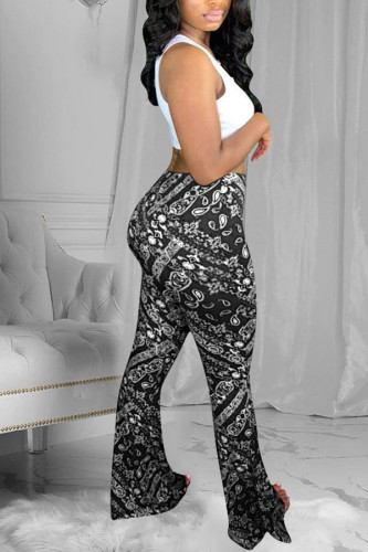 Blue Polyester Elastic Fly Mid Print Boot Cut Pants BOTTOMS