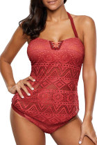 Red Polyester Mesh Patchwork Solid Fashion Sexy Tankinis Set SJ381208