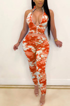 Orange Polyester Fashion Sexy adult Ma'am Print Tie Dye Zippered Two Piece Suits pencil Sleeveless Two Pieces