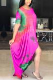 Blue Milk. Fashion adult Ma'am Street Cap Sleeve Short Sleeves O neck Princess Dress Floor-Length Print Tie and dye asymmetrical Dresses