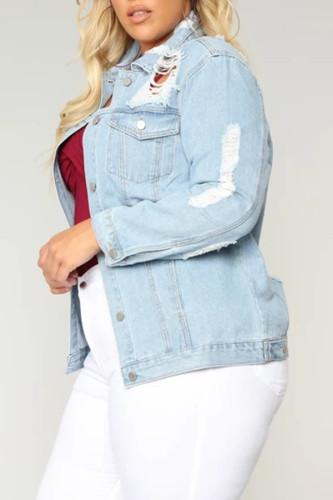 Light Blue Denim Fashion adult Ma'am Street Turndown Collar Solid Hole Button Plus Size
