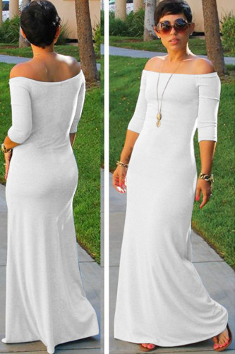 Black Polyester Sexy Fashion Off The Shoulder 3/4 Length Sleeves One word collar Asymmetrical Floor-Length asymmetrical Solid Maxi Dresses MC301229