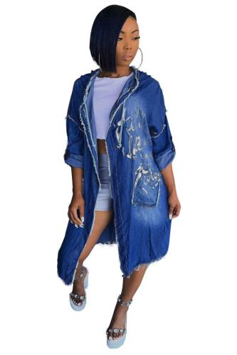 Blue cardigan Solid washing Patchwork Old The cowboy Pure Long Sleeve cloak SMR391377