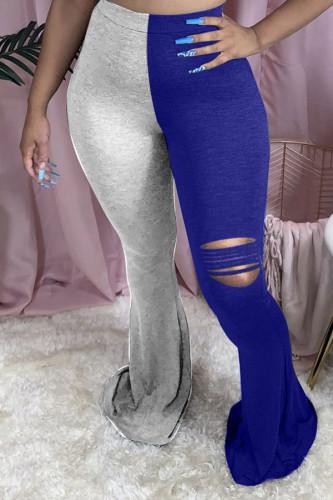 Blue Cotton Sexy Patchwork Pattern Plus Size