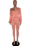 Red Cotton Fashion Casual adult Ma'am Solid Two Piece Suits pencil Long Sleeve Two Pieces
