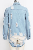 Dark Blue Turndown Collar Solid Hole Old washing The cowboy Pure Long Sleeve Outerwear
