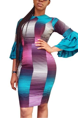 Light Blue Sexy Fashion Cap Sleeve 3/4 Length Sleeves O neck Hip skirt Knee-Length Print Patchwork Print Dress