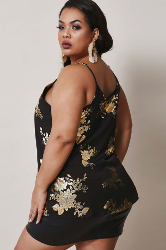 Black Polyester Fashion Sexy adult Ma'am V Neck Print Pattern Plus Size