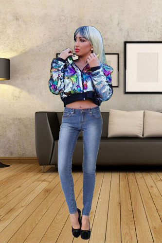 Multi-color Turndown Collar Sequin Polyester Long Sleeve Blazer & Suits &Jacket YS52361