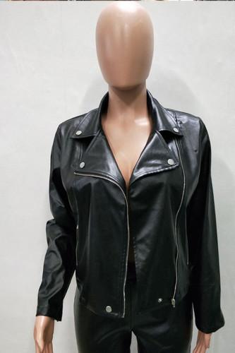 Black Mandarin Collar Zippered Solid Patchwork PU Pure Long Sleeve Blazer & Suits &Jacket LD551300