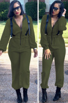 Army Green Casual Solid zipper Polyester Long Sleeve Turndown Collar Jumpsuits TH117011