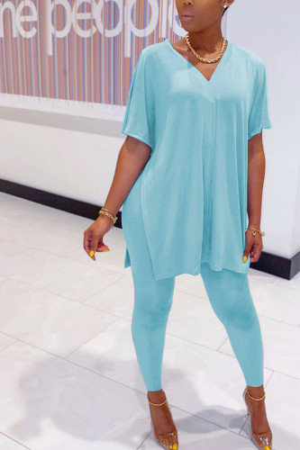 Blue Polyester Fashion Casual adult Ma'am Solid Two Piece Suits pencil Short Sleeve Two Pieces