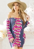 Sexy & Club Slash neck Long Sleeve Summer Dresses