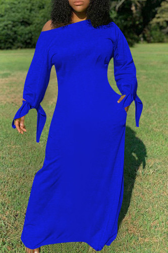 Royal blue Fashion Daily Adult Polyester Solid Knotted Oblique Collar Long Sleeve Floor Length Long Sleeve Dress Dresses