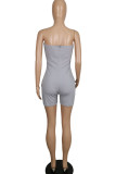 Grey Fashion Casual Solid Polyester Sleeveless Wrapped Jumpsuits