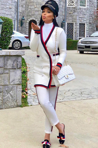 White V Neck Patchwork Polyester Patchwork Long Sleeve Coats & Cardigan WZ681161