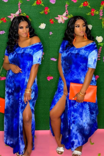 Blue Casual Short Sleeves V Neck Straight Ankle-Length Print Tie and dye Dresses