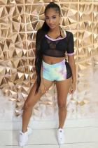 Black Polyester Sexy Fashion Mesh perspective Two Piece Suits crop top Tie Dye Regular Two-Piece Short Se