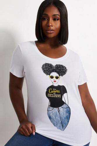 White Polyester Fashion Casual adult Ma'am O Neck Print Pattern Plus Size