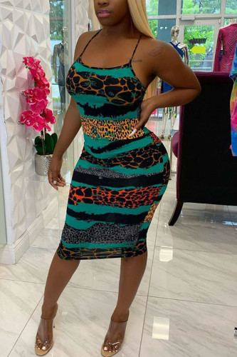 Green Polyester Fashion Sexy adult Ma'am Spaghetti Strap Sleeveless Slip Step Skirt Knee-Length Leopard Dresses