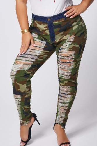 Camouflage Polyester Fashion Sexy adult Ma'am Hole Camouflage Zipper Plus Size