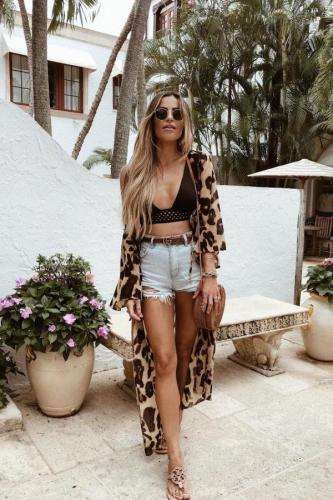 As Show Polyester crop top Leopard Hooded Out Sexy Fashion Tankinis Set CS861279