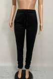 Pink Fashion Casual Adult Polyester Solid Fold Boot Cut BOTTOMS