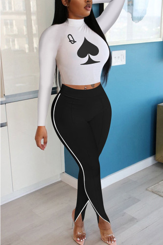 White Polyester Fashion adult Ma'am OL Print Two Piece Suits pencil Long Sleeve Two Pieces