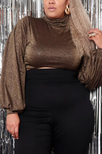 Gold Polyester Fashion Sexy adult Ma'am Turtleneck Solid Plus Size