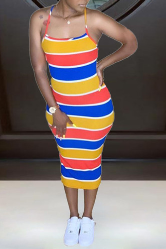 multicolor Polyester Fashion Sexy Spaghetti Strap Sleeveless Slip Step Skirt Knee-Length Striped Dresses