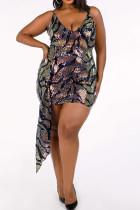 Multi-color Polyester Sexy V Neck Print asymmetrical Pattern Plus Size Dresses IF65080