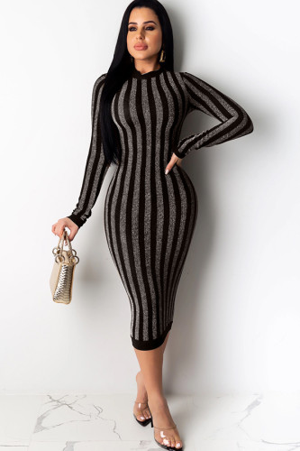 Silver Polyester England Cap Sleeve Long Sleeves O neck Step Skirt Mid-Calf Striped Party and Cocktail Dresses OS411320