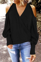Black Modal V Neck Long Sleeve Solid HOLLOWED OUT TOPS