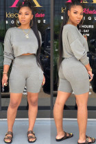 Grey Polyester Fashion Street Patchwork Solid Two Piece Suits Straight Long Sleeve Two Pieces