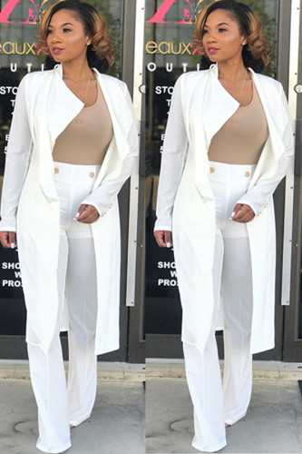 White Notched backless Polyester Pure Long Sleeve AM761276
