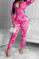 rose red Casual Print Tie-dyed Cotton Blend Long Sleeve V Neck Jumpsuits