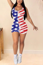 Red Fashion Sexy Print Striped Patchwork Polyester Sleeveless O Neck Jumpsuits