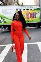 Orange Sexy Backless Solid Polyester Long Sleeve O Neck Jumpsuits